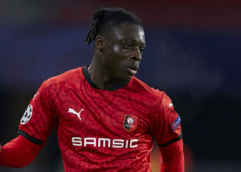 RENNES, FRANCE - DECEMBER 08: Jeremy Doku of Stade Rennais in action during the UEFA Champions League Group E stage match between Stade Rennais and Sevilla FC at Roazhon Park on December 08, 2020 in Rennes, France. (Photo by Mateo Villalba/Quality Sport Images/Getty Images)