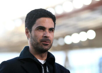 LONDON, ENGLAND - MAY 06: Mikel Arteta, Manager of Arsenal is interviewed prior to the UEFA Europa League Semi-final Second Leg match between Arsenal and Villareal CF at Emirates Stadium on May 06, 2021 in London, England. Sporting stadiums around Europe remain under strict restrictions due to the Coronavirus Pandemic as Government social distancing laws prohibit fans inside venues resulting in games being played behind closed doors. (Photo by Christopher Lee - UEFA/UEFA via Getty Images)