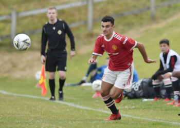 PORTSTEWART, NORTHERN IRELAND - JULY 26: Zach Giggs of Manchester United during the Super Cup NI under-16 match between Manchester United and Coleraine on July 26, 2021 in Portstewart, Northern Ireland. (Photo by Charles McQuillan/Getty Images)