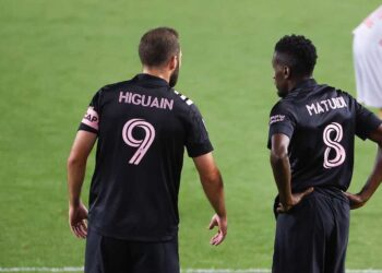 HARRISON, NJ - OCTOBER 07: Inter Miami forward Gonzalo Higuain 9 and Inter Miami midfielder Blaise Matuidi 8 during the second half of the Major League Soccer game between the New York Red Bulls and Inter Miami on October 7, 2020 at Red BGullArena in Harrison,NJ. Photo by Rich Graessle/Icon Sportswire SOCCER: OCT 07 MLS, Fussball Herren, USA - Inter Miami CF at New York Red Bulls Icon201007411
