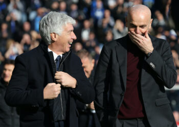 Gian Piero Gasperini Head coach of Atalanta and Stefano Pioli Head coach of AC Milan pictured before the Serie A match at Gewiss Stadium, Bergamo. Picture date: 22nd December 2019. Picture credit should read: Jonathan Moscrop/Sportimage PUBLICATIONxNOTxINxUK SPI-0393-0051