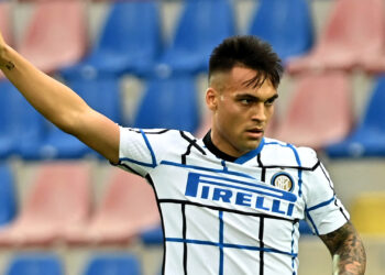 Inter Milan's argentine forward Lautaro Martinez reacts during the Italian Serie A football match Crotone vs Inter Milan at the Ezio Scida Stadium in Crotone on May 1, 2021. (Photo by giovanni isolino / AFP) (Photo by GIOVANNI ISOLINO/AFP via Getty Images)