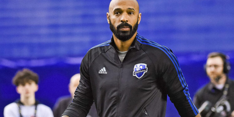 MONTREAL, QC - FEBRUARY 26: Look on Montreal Impact head coach Thierry Henry (hc) walking off the field during the Deportivo Saprissa versus the Montreal Impact game on February 26, 2020, at Olympic Stadium in Montreal, QC (Photo by David Kirouac/Icon Sportswire via Getty Images)